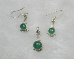 NATURAL UNTREATED GREEN ONYX PENDANT  EARRINGS 925 STERLING SILVER JE672