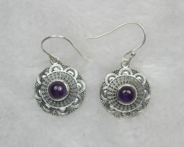 NATURAL UNTREATED AMETHYST EARRINGS 925 STERLING SILVER JE