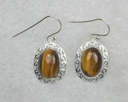 NATURAL UNTREATED TIGER EYE EARRINGS 925 STERLING SILVER JE674