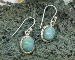 NATURAL UNTREATED AMAZONITE EARRINGS 925 STERLING SILVER JE675
