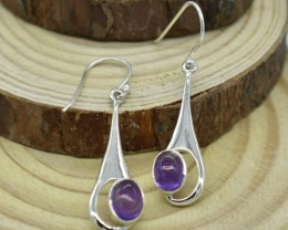 NATURAL UNTREATED AMETHYST EARRINGS 925 STERLING SILVER JE676