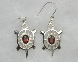 NATURAL UNTREATED GARNET EARRINGS 925 STERLING SILVER JE677