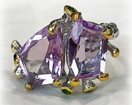 Amethyst Chrome Diopside Gold and Silver Ring Size 10