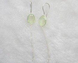 NATURAL UNTREATED CHALCENDONY EARRINGS 925 STERLING SILVER JE678