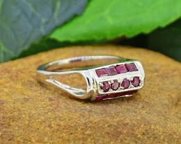 Natural Ruby 925 Sterling Silver Ring Size7 (SSR0020 )
