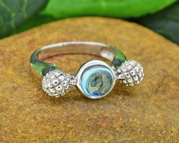 Natural Blue Topaz 925 Sterling Silver Ring SIZE7  (SSR0014 )