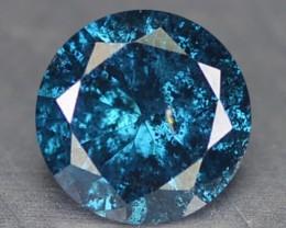 0.16 Cts Natural Titanium Blue Diamond Round Africa