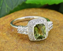 Natural Moldavite 925 Sterling Silver Ring SIZE8 (SSR0037 )