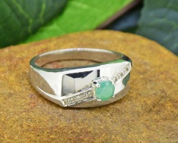 Natural Emerald& White Topaz 925 Sterling Silver Ring SIZE11  (SSR0168)