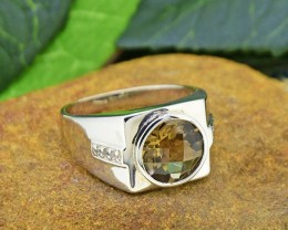 Natural Smoky Quartz & Topaz 925 Sterling Silver Ring Size 10.5
