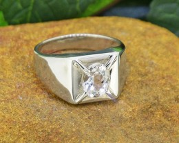 Natural Goshenite 925 Sterling Silver Ring SIZE8  (SSR0187 )