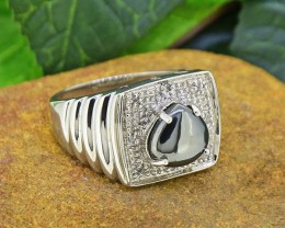 Natural Hematite & Topaz  925 Sterling Silver Ring SIZE10.5  (SSR0189 )