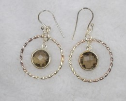 NATURAL UNTREATED SMOKY QUARTZ EARRINGS 925 STERLING SILVER JE681