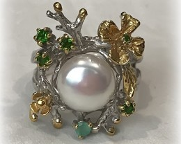 Handmade Artisan Pearl Chrome Diopside Ring Size 8.5 Gold over Sterling Sil