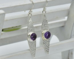 NATURAL UNTREATED AMETHYST EARRINGS 925 STERLING SILVER JE683