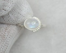 NATURAL UNTREATED RAIN BOW MOONSTONE RING 925 STERLING SILVER JE684