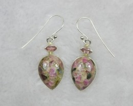 NATURAL UNTREATED TOURMALINE EARRINGS 925 STERLING SILVER JE685