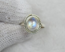 NATURAL UNTREATED RAINBOW MOONSTONE RING 925 STERLING SILVER JE686
