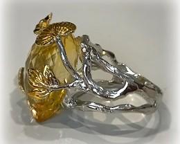 Citrine Ruby Handmade 14kt Gold over Sterling Silver Ring
