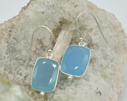 NATURAL UNTREATED CHALCENDONY EARRINGS 925 STERLING SILVER JE687