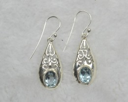 NATURAL UNTREATED BLUE TOPAZ EARRINGS 925 STERLING SILVER JE689