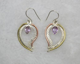 NATURAL UNTREATED AMETHYST  EARRINGS 925 STERLING SILVER JE690