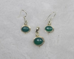 NATURAL UNTREATED GREEN ONYX PENDANT EARRINGS SET 925 STERLING SILVER JE691