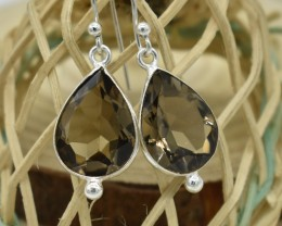 NATURAL UNTREATED SMOKY QUARTZ EARRINGS 925 STERLING SILVER JE692