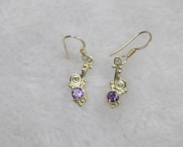 NATURAL UNTREATED AMETHYST EARRINGS 925 STERLING SILVER JE693