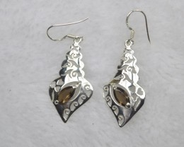 NATURAL UNTREATED SMOKY QUARTZ  EARRINGS 925 STERLING SILVER JE694
