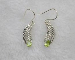 NATURAL UNTREATED PERIDOT EARRINGS 925 STERLING SILVER JE698