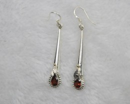 NATURAL UNTREATED GARNET EARRINGS 925 STERLING SILVER JE699
