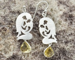NATURAL UNTREATED CITRINE EARRINGS 925 STERLING SILVER JE700