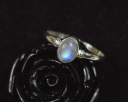 NATURAL UNTREATED RAINBOW MOONSTONE RING 925 STERLING SILVER JE199