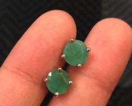 10ct Green Emerald 925 Sterling Silver Earrings