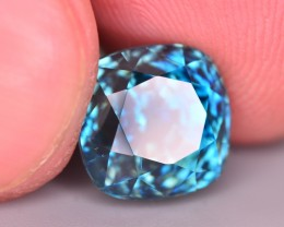GIL Certified 8.62 Ct Ravishing Color Natural Vibrant Blue Zircon