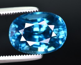 GIL Certified 7.37 Ct Amazing Color Natural Vibrant Blue Zircon