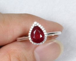 11.7ct Blood Red Ruby 925 Sterling Silver Ring US 8