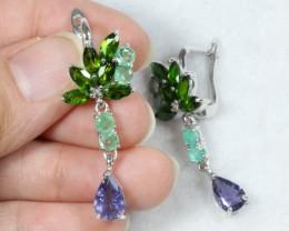 36.6ct ChromeDiopside Emerald n Iolite 925 Sterling Silver Earrings