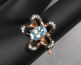 17.7ct Sky Blue Topaz 925 Sterling Silver Ring US 8