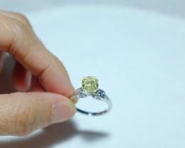 2ct fancy yellow cushion cut diamond ring