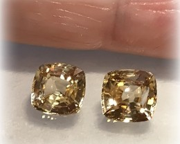 A pair of Golden Zircon gems 6.00mm Jewellery grade