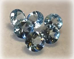 6 PIECE SKY BLUE TOPAZ GEM PARCEL VVS Jewellery grade gems