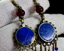 46.70 CT Natural lapis lazuli Carved earrings Hand made