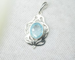 NATURAL UNTREATED BLUE TOPAZ PENDANT 925 STERLING SILVER JE267