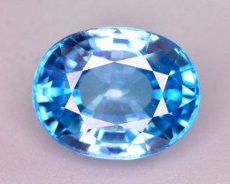 GIL Certified 8.41 Ct Gorgeous Color Natural Vibrant Blue Zircon