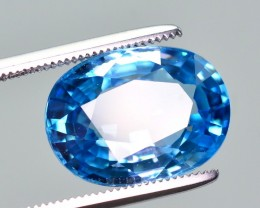 GIL Certified 9.23 Ct Amazing Color Natural Vibrant Blue Zircon