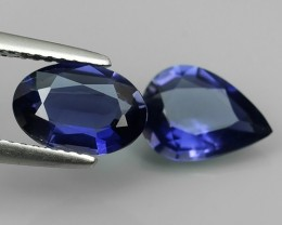 2.30 CTS GENUINE NATURAL ULTRA RARE LUSTER IOLITE PEAR & OVAL NR!!!