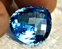 27.1 Carat Cushion Cut Blue Brazil VVS Topaz - Gorgeous