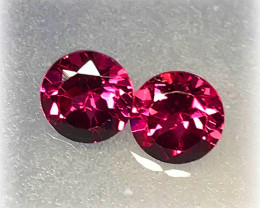 5.50mm CRIMSON PINK PAIR OF RHODOLITE GARNETS JEWELLERY GRADE